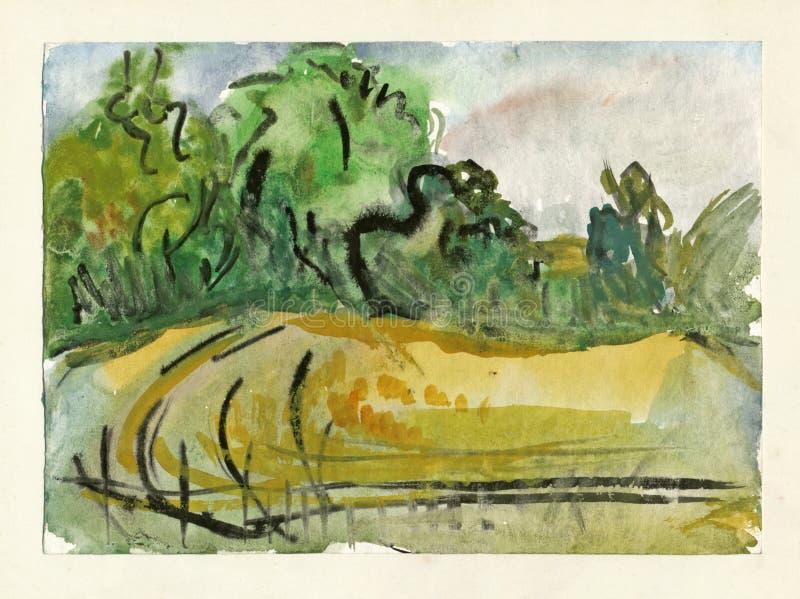 Prado e campo, desenhando ilustração royalty free