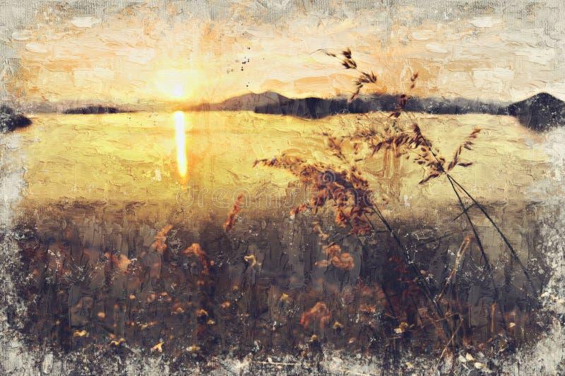 Prado e por do sol Digitas Art Impasto Oil Painting por Photograp imagens de stock
