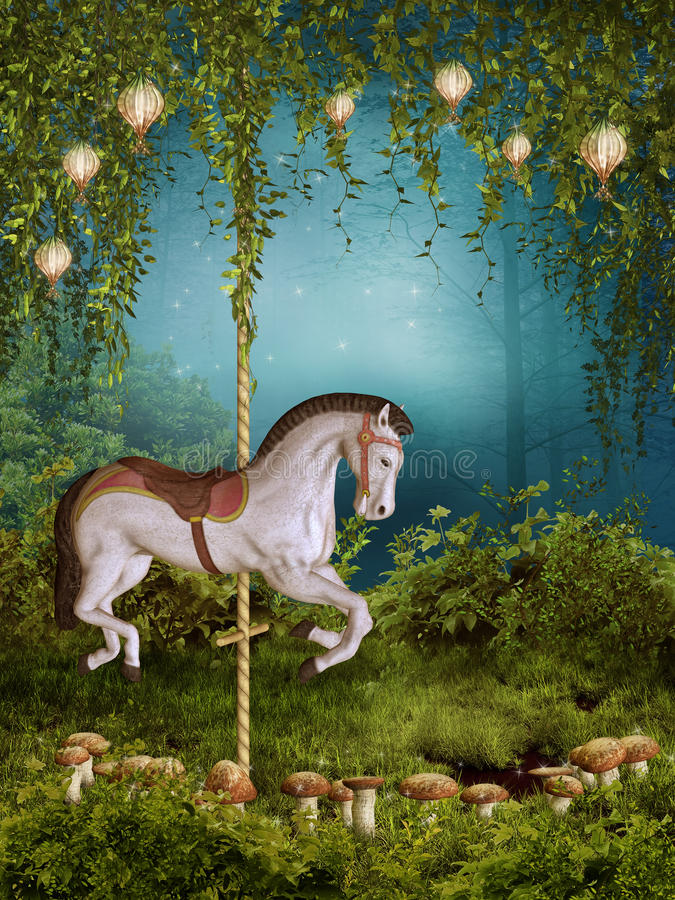 Prado encantado con un caballo libre illustration