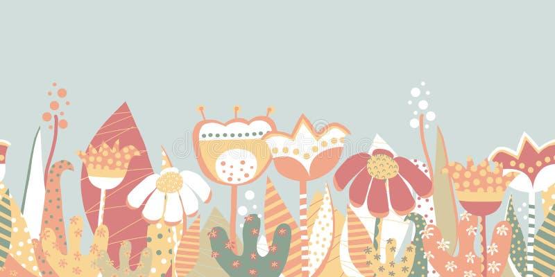 Prado inconsútil de la flor de la primavera de la frontera del vector Estilo escandinavo ilustración del vector