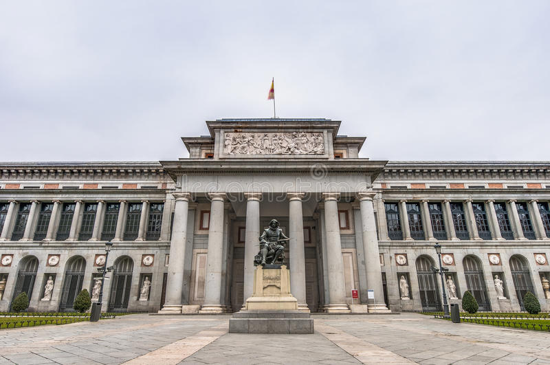Prado Museum at Madrid, Spain. Prado Museum facade and Cervantes statue at Madrid, Spain royalty free stock photography
