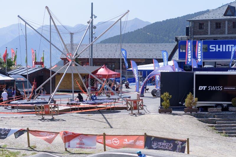 Prado no CAMPEONATO DO MUNDO 2019 de MERCEDES-BENZ UCI MTB - DHI Vallnord, Andorra em julho de 2019 fotos de stock royalty free