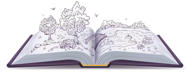 Prado, rio, ponte e árvores nas páginas de um livro aberto Ilustração conceptual ilustração do vetor