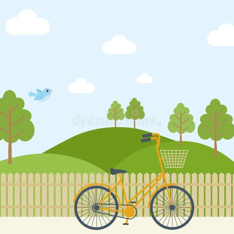 Prado simple hermoso de la historieta con la bici que compite con anaranjada en fondo del cielo Puede ser utilizado como el conte libre illustration
