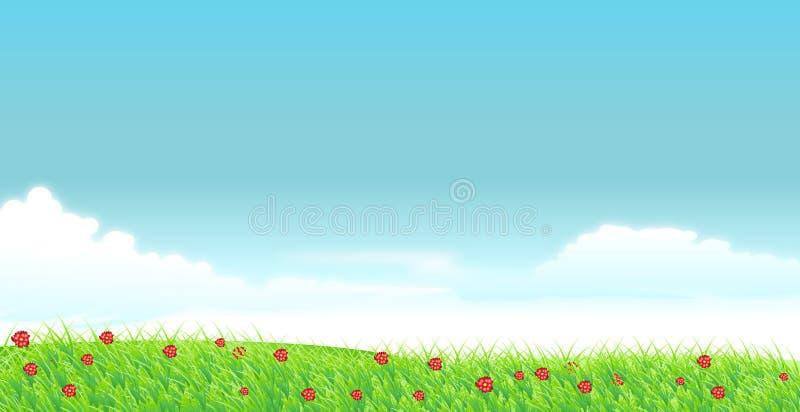 Prado verde ilustração stock