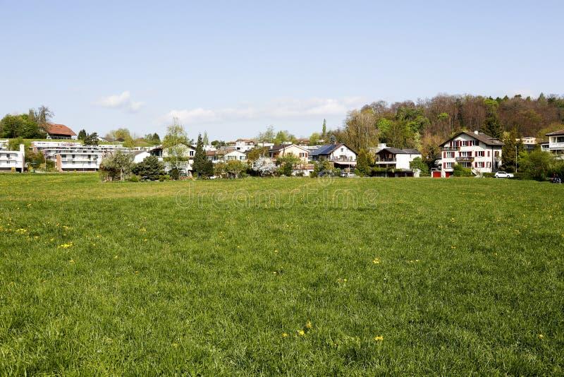 Prado verde de la primavera y hogares residenciales fotografía de archivo