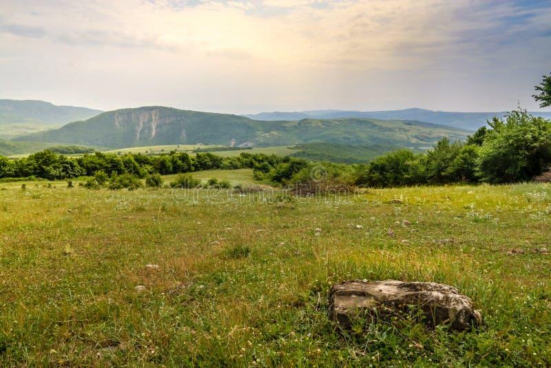 Prado verde en el fondo con las montañas distantes Abra el campo con la hierba verde foto de archivo libre de regalías
