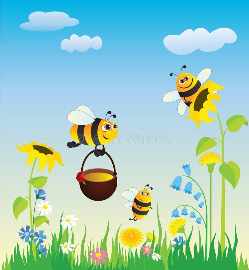 Prado y abejas ilustración del vector