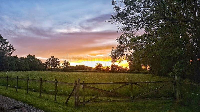 Prados de la puesta del sol imagenes de archivo