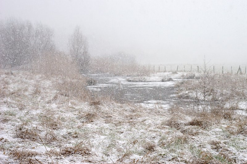 Prados do vale de Rur durante a queda de neve fotos de stock