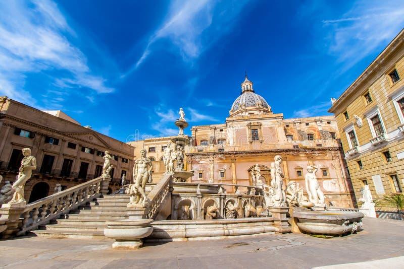 Praetoria喷泉在巴勒莫,意大利 免版税库存图片