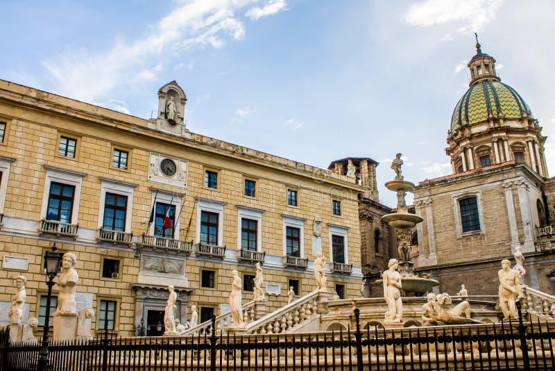 Praetoria广场在巴勒莫 库存照片