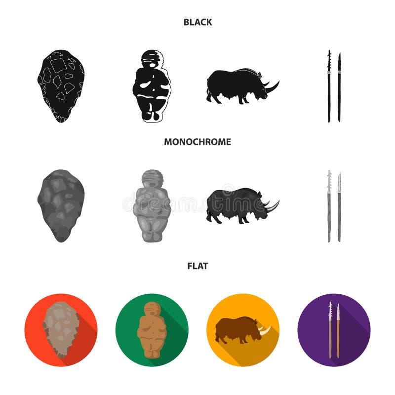 Praforma, kobieta, mężczyzna, bydło Er kamienia łupanego ustalone inkasowe ikony w czarnym, płaski, monochromu symbolu stylowy we royalty ilustracja