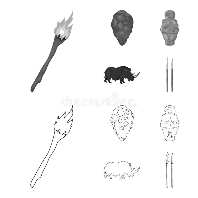 Praforma, kobieta, mężczyzna, bydło Er kamienia łupanego ustalone inkasowe ikony w konturze, monochromu symbolu stylowy wektorowy ilustracja wektor