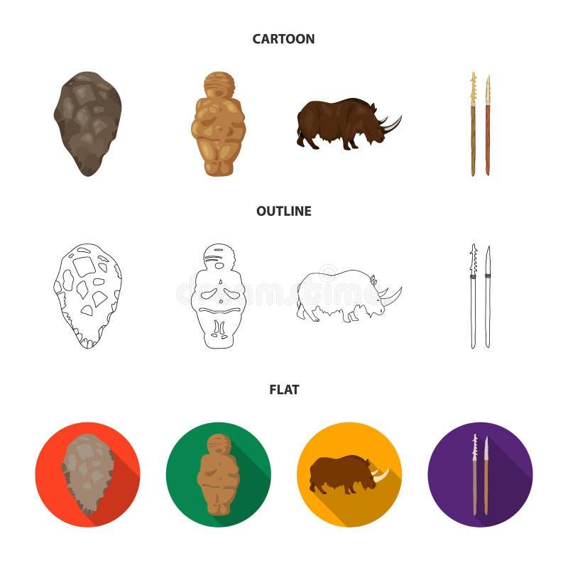 Praforma, kobieta, mężczyzna, bydło Er kamienia łupanego ustalone inkasowe ikony w kreskówce, kontur, mieszkanie symbolu stylowy  ilustracji