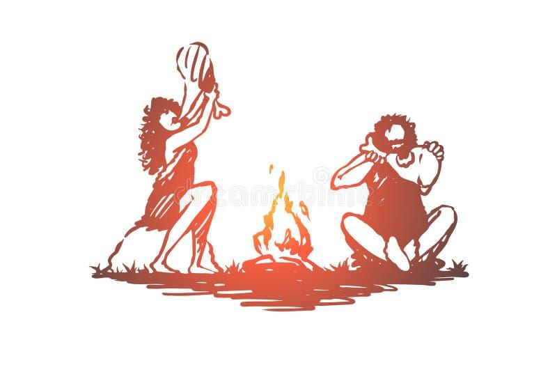 Praforma, ludzie, ognisko, caveman, antyczny pojęcie Ręka rysujący odosobniony wektor ilustracja wektor