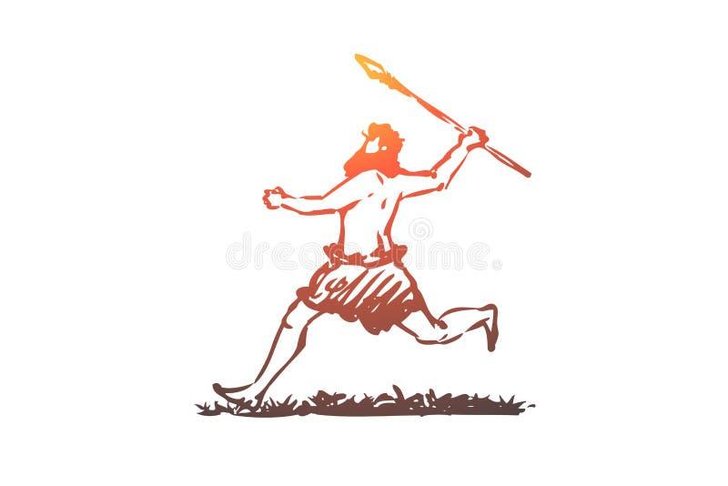 Praforma, mężczyzna, dzida, caveman, myśliwego pojęcie Ręka rysujący odosobniony wektor royalty ilustracja