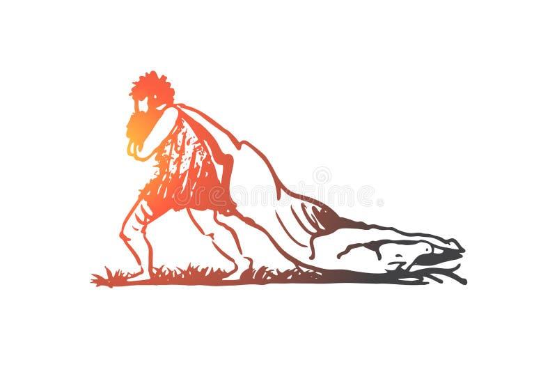 Praforma, mężczyzna, zdobycz, caveman, myśliwego pojęcie Ręka rysujący odosobniony wektor ilustracji