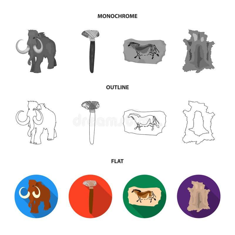 Praforma, mamut, bronie, młot Er kamienia łupanego ustalone inkasowe ikony w mieszkaniu, kontur, monochromu symbolu stylowy wekto ilustracji
