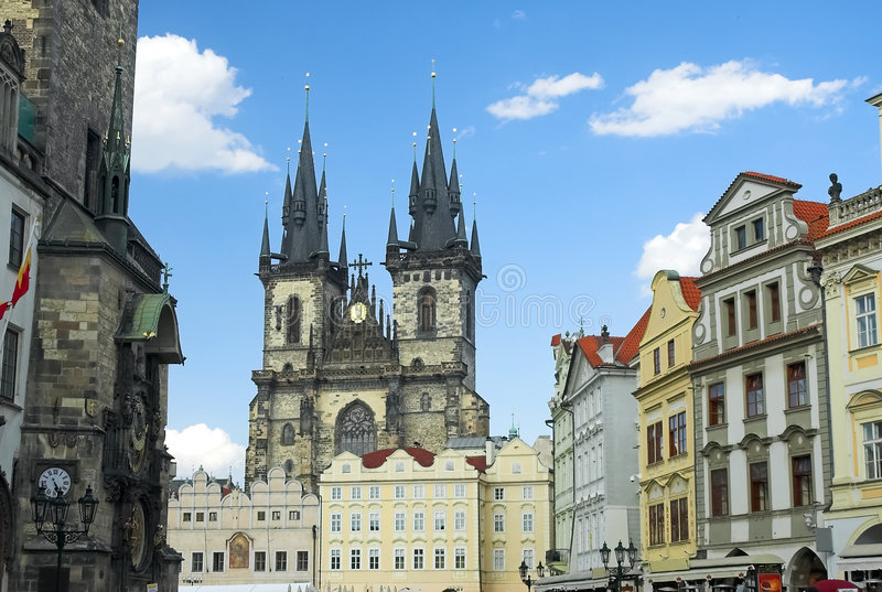 Prag-alter Rathausplatz stockfotos