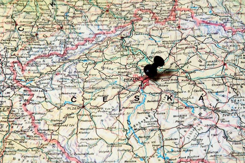 Prag auf einer Karte stockbild