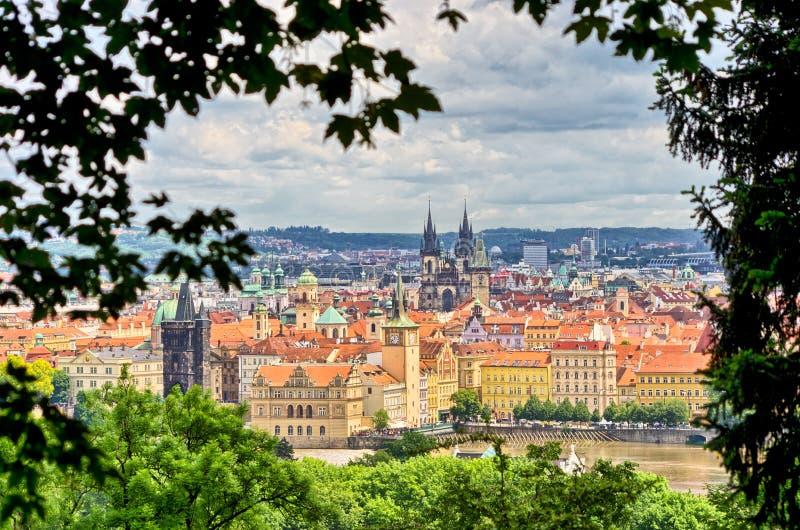 Prag im natürlichen Rahmen gemacht von den Blättern, Tschechische Republik stockbild