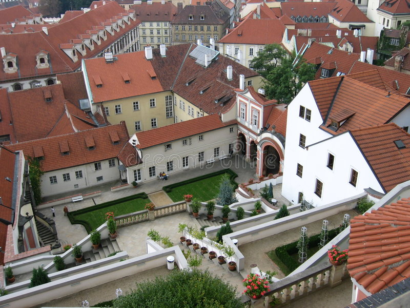 Prag roofs II stockfotos