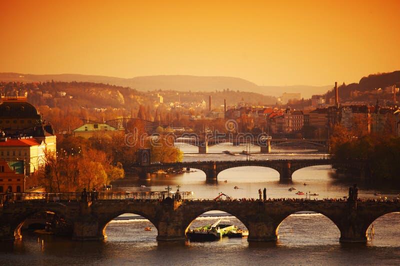 Prag-Sonnenaufgang lizenzfreies stockfoto
