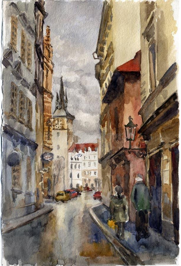 Prag-Straße. Aquarell vektor abbildung