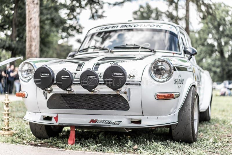 Prag, Tschechische Republik - 16/5/2019 altes Skoda-rallye speziell lizenzfreies stockfoto