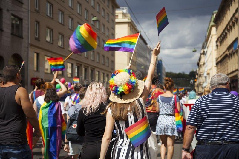 Prag/Tschechische Republik - 11. August 2018: LGBT Pride March stockfotografie