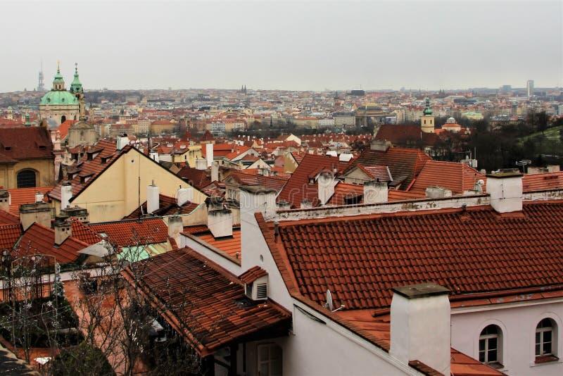 Prag, Tschechische Republik, im Januar 2015 Prag-Dachspitzen, Ansicht der alten Stadt stockbild
