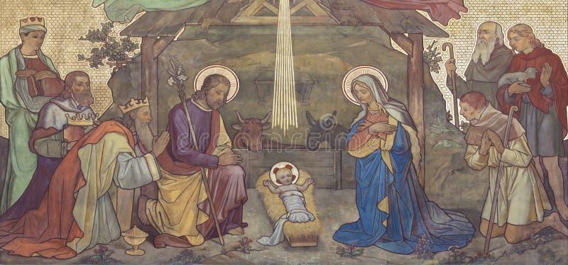 PRAG, TSCHECHISCHE REPUBLIK - 17. OKTOBER 2018: Das Fresko der Verehrung der Weisen und der Geburt Christi im Kirche kostel Svate lizenzfreies stockfoto