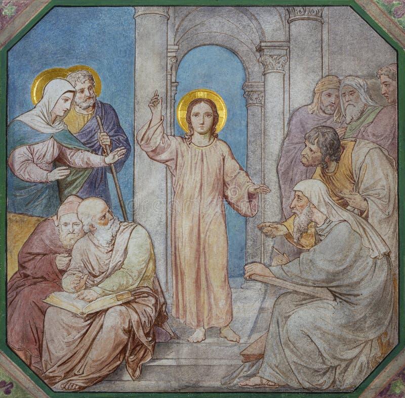 PRAG, TSCHECHISCHE REPUBLIK - 17. OKTOBER 2018: Das Fresko von zwölf alter Jesus im Tempel in Kirche kostel Svatého Cyrila Metod stockbild