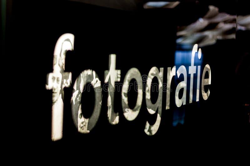 Prag, Tschechische Republik-technisches Museum, die Aufschrift Fotografie 2017-09-12 stockfotos