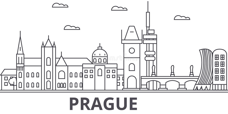 Praga architektury linii linii horyzontu ilustracja Liniowy wektorowy pejzaż miejski z sławnymi punktami zwrotnymi, miasto widoki ilustracji