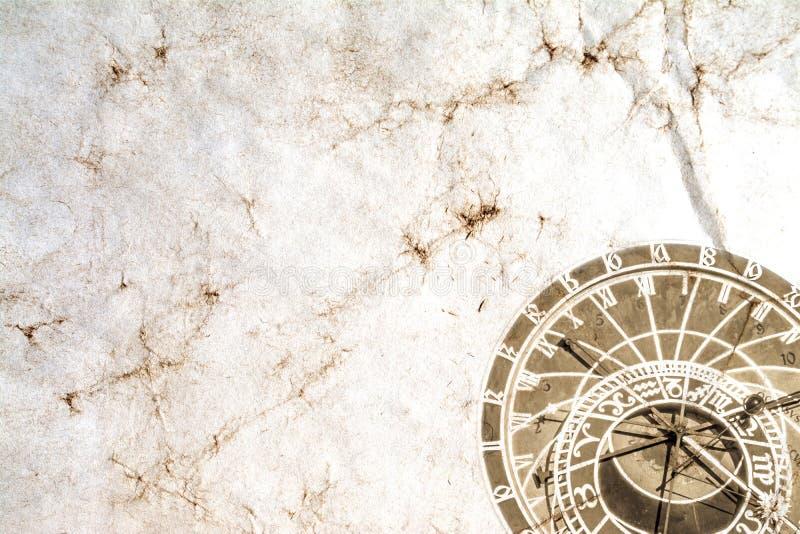 Praga Astronomiczny zegar przeciw tłu stary rocznik miął papier zdjęcie royalty free
