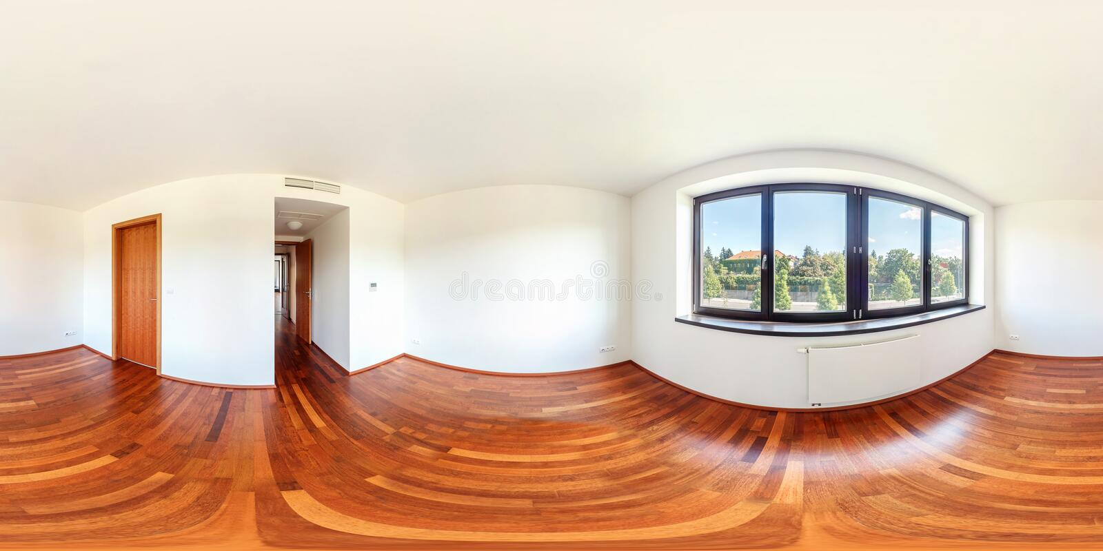 PRAGA, CHECH - AUGUST 5, 2013: Full spherical 360 by 180 degrees seamless panorama in equirectangular equidistant projection,. Panorama in interior empty room stock photos