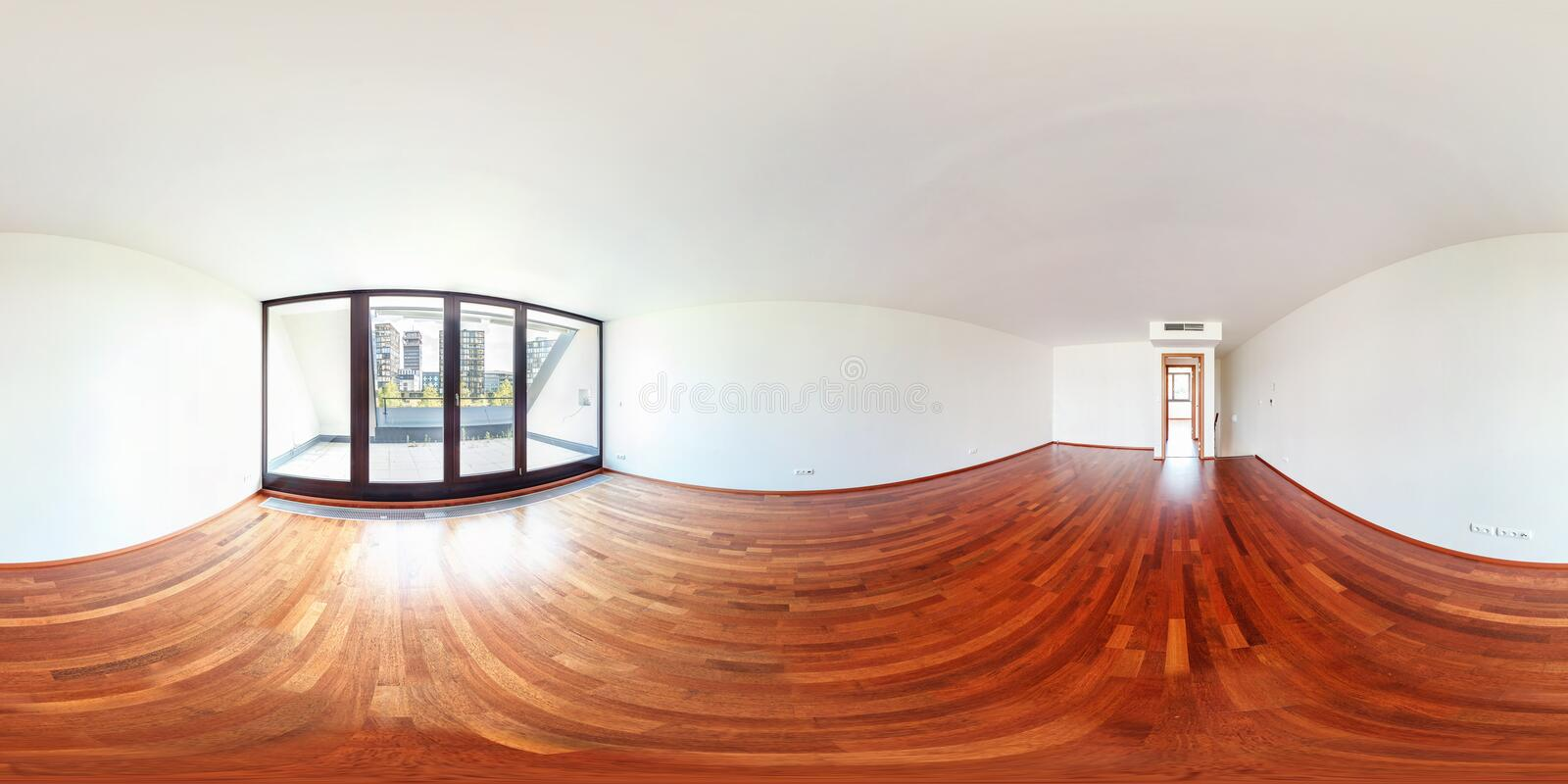 PRAGA, CHECH - AUGUST 5, 2013: Full spherical 360 by 180 degrees seamless panorama in equirectangular equidistant projection,. Panorama in interior empty room royalty free stock photo