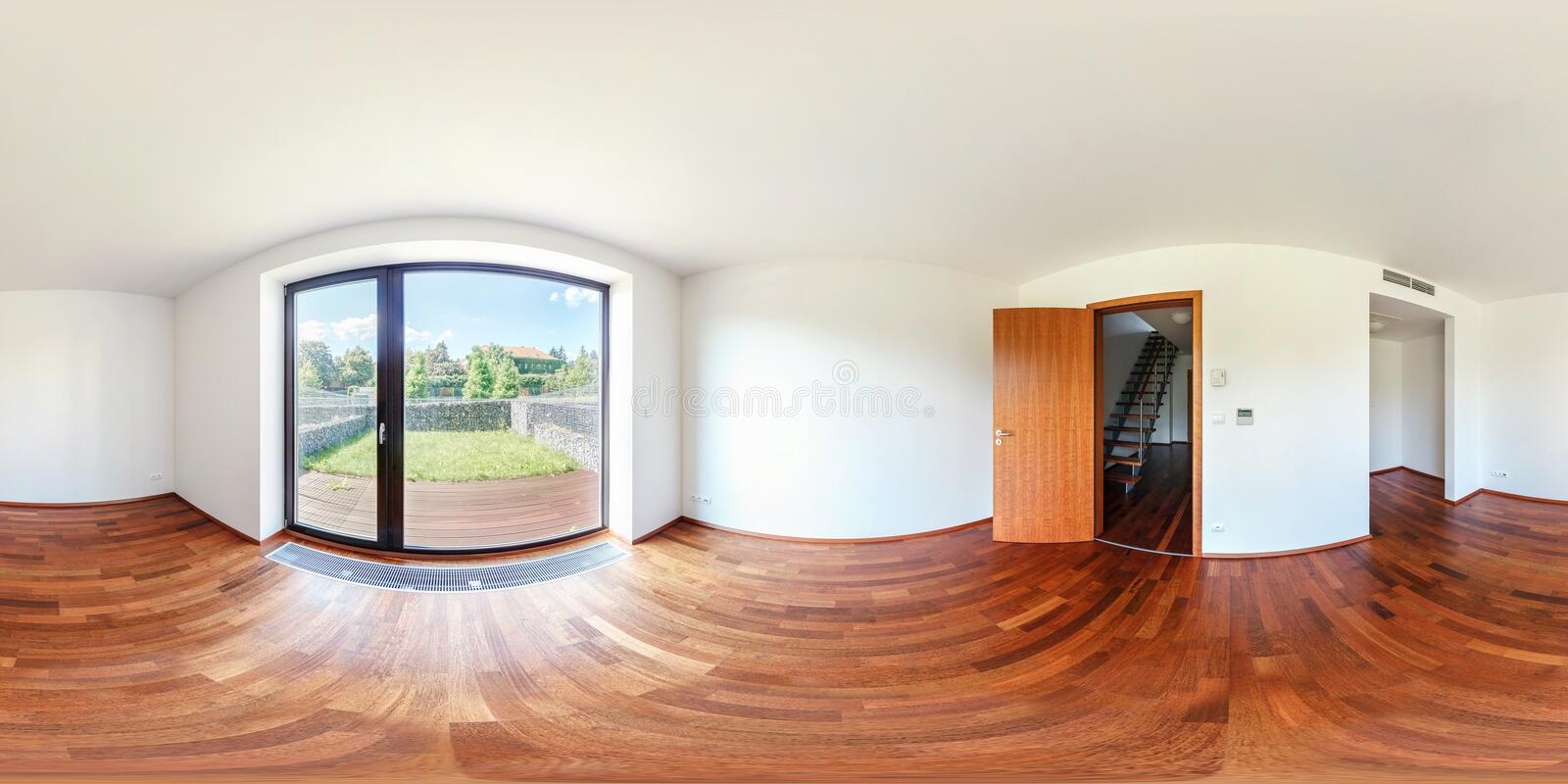 PRAGA, CHECH REPUBLIC - JULY 28, 2013: Full spherical 360 degrees seamless panorama in equirectangular equidistant projection,. Panorama in empty interior stock photography