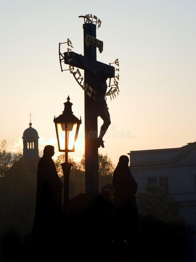 Praga - Corss Del Puente De Charles Imágenes de archivo libres de regalías