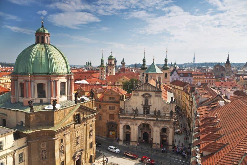 Praga dachy Odgórny widok fotografia royalty free