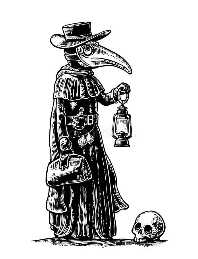 Praga, doutor com máscara do pássaro, mala de viagem, lanterna, alho e chapéu engraving ilustração do vetor