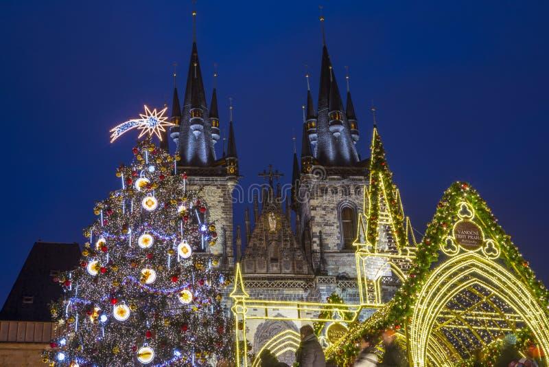 Praga en la Navidad foto de archivo libre de regalías