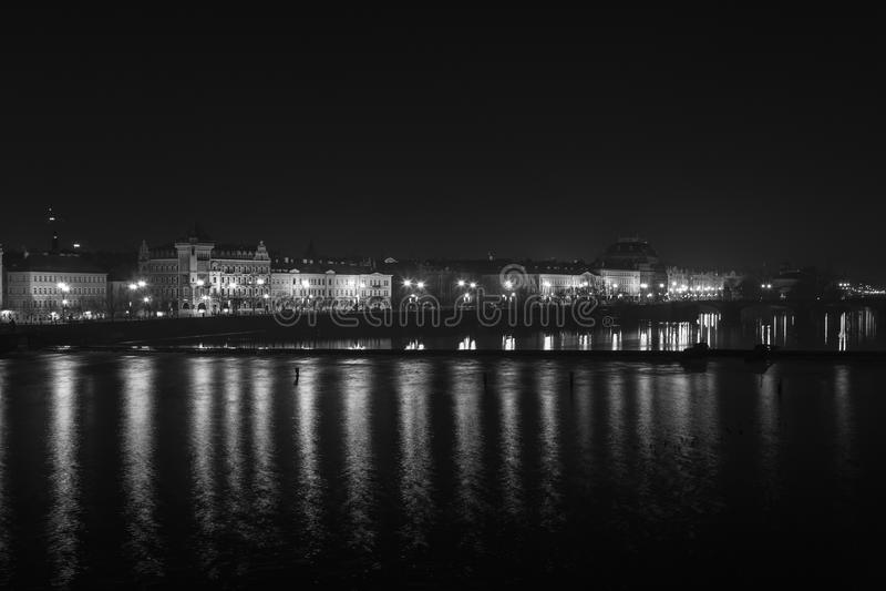 Praga entro Night immagine stock