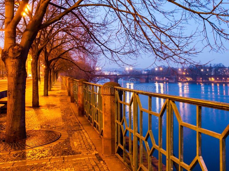 Praga entro Night Il woth dell'argine di Smetana cobbled il marciapiede, gli alberi e l'inferriata ornamentale del metallo, repub immagini stock libere da diritti
