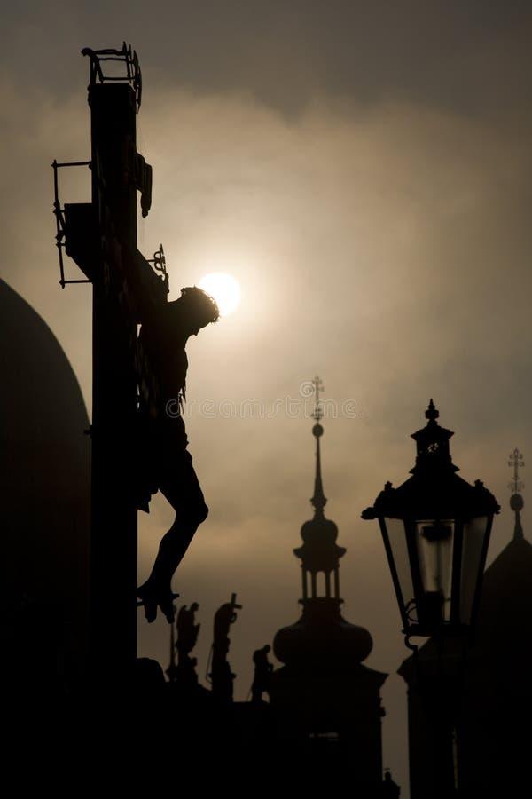 Praga - Jesus Cristo da ponte de Charles imagem de stock