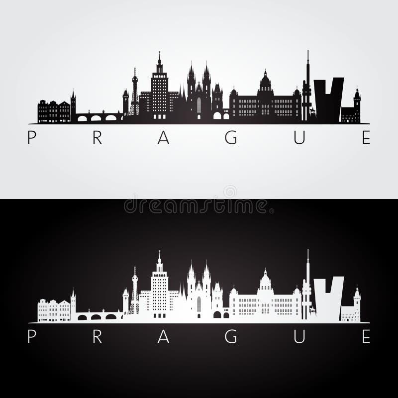 Praga linia horyzontu i punkt zwrotny sylwetka ilustracji