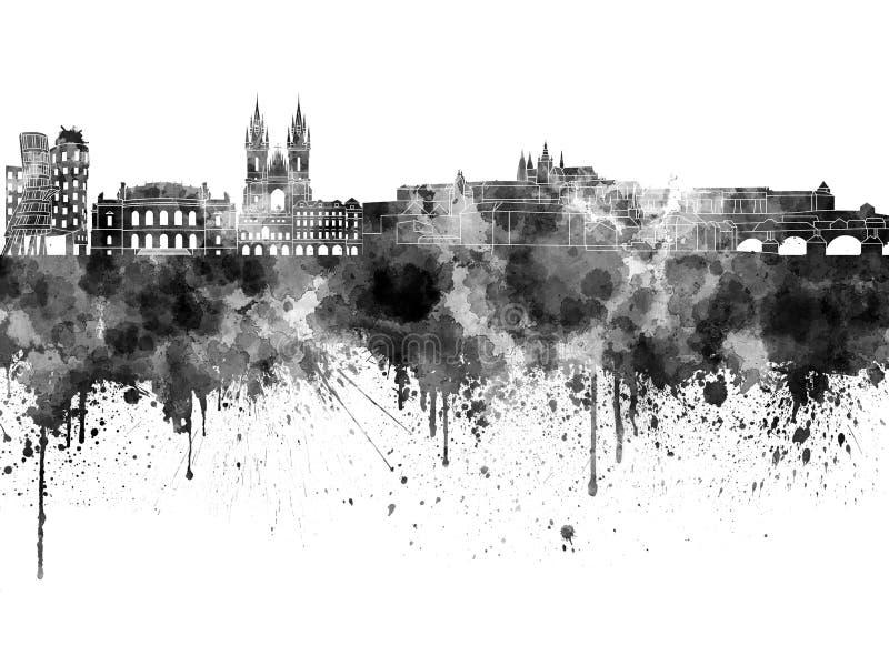 Praga linia horyzontu w czarnej akwareli ilustracji