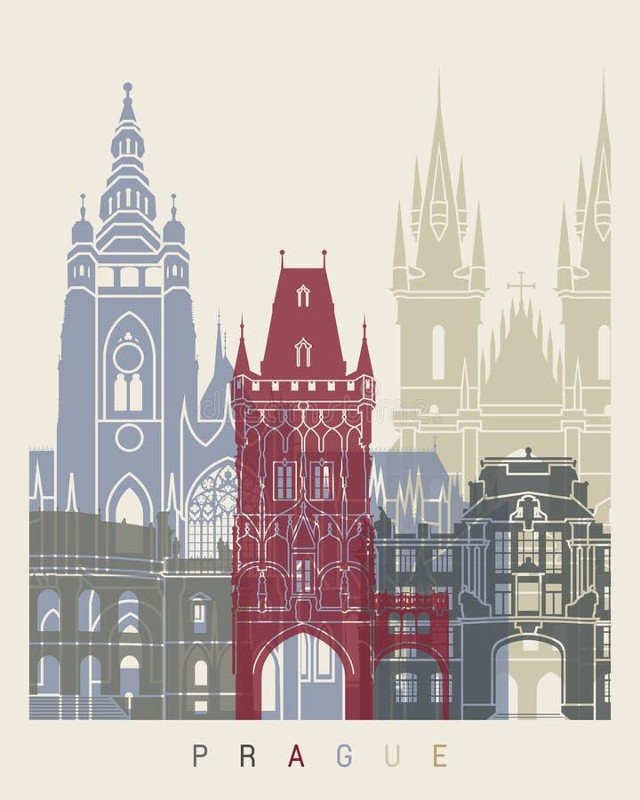 Praga linii horyzontu plakat ilustracji
